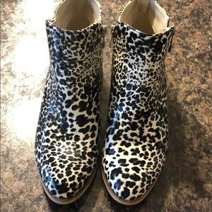 Black and white leopard booties
